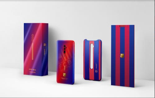 Phiên bản giới hạn FC Barcelona của Reno 10x Zoom sử dụng sắc màu chuyển đổi giữa đỏ và xanh đặc trưng của đội bóng xứ Catalonia
