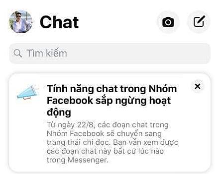 Thông báo tính năng chat trong Nhóm Facebook sắp ngừng hoạt động khiến người dùng hiểu sai Messenger sẽ không còn tính năng chat nhóm.