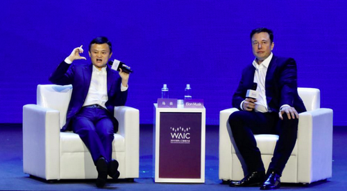 Jack Ma (left) and Elon Musk (right) at WAIC.