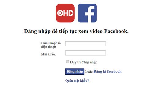 Giao diện yêu cầu người dùng nhập tài khoản Facebook.