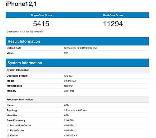 Điểm số sức mạnh của thiết bị iPhone 12,1 trên Geekbench.
