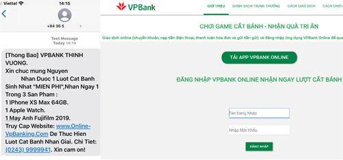 Nội dung tin nhắn và giao diện website lừa đảo. Ảnh: CyRadar.