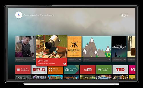 Giao diện hệ điều hành Android TV của Google.
