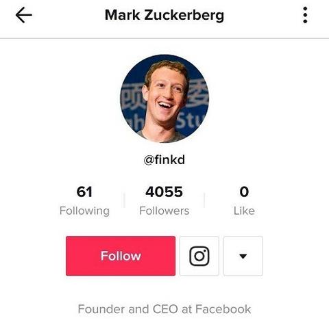 Tài khoản @finkd được cho là của CEO Facebook trên TikTok. Ảnh: Business Insider.