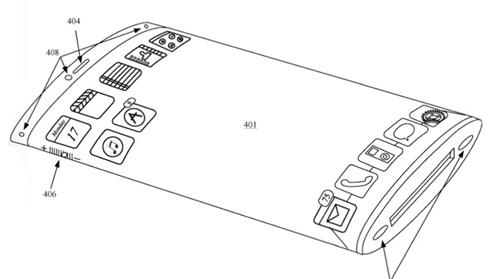 iPhone màn hình bao quanh thân máy với khả năng hiển thị nội dung 3D. Ảnh: Patently Apple.