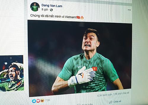 Đoạn trạng thái của Văn Lâm trên Facebook nhận hơn 70.000 lượt thích.