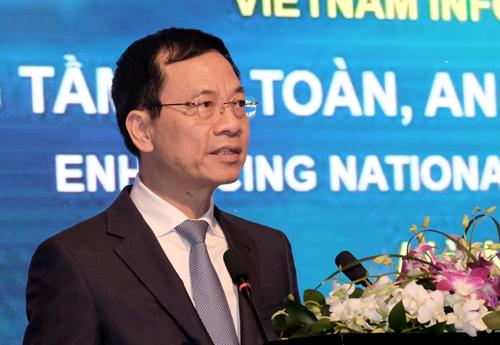Bộ trưởng Thông tin và Truyền thông Nguyễn Mạnh Hùng tin tưởng Việt Nam có thể bứt phá trong lĩnh vực an ninh mạng. Ảnh: Mạnh Hưng.