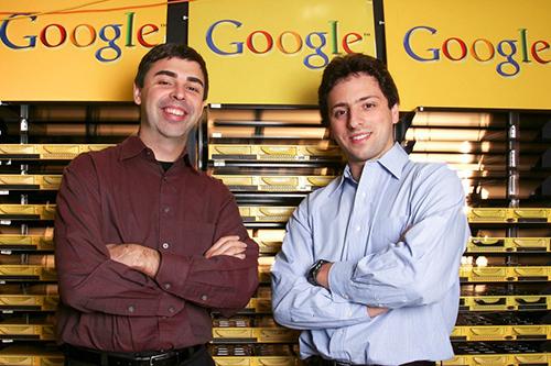 Hai đồng sáng lập Google, Larry Page (bên trái)và Sergey Brin (bên phải). Ảnh: Wired.