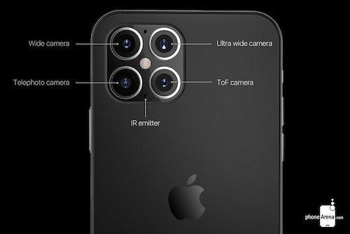 iPhone 2020 sẽ được trang bị 4 camera sau với cảm biến hồng ngoại và camera ToF. Ảnh: PhoneArena