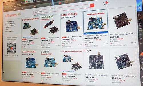 Linh kiện sử dụng để lắp ráp thiết bị gây nhiễu sóng mua bán dễ dàng trên các trang thương mại điện tử nước ngoài.