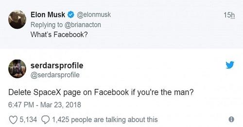 Vào năm 2018, khi vụ bê bối Cambridge Analytica bị phanh phui, Elon Musk đã xóa trang Facebook chính thức của SpaceX và Tesla. Ảnh: Interesting Engineering.