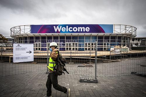 Bên ngoài nơi tổ chức MWC 2020 trước khi bị hủy. Ảnh: Bloomberg.