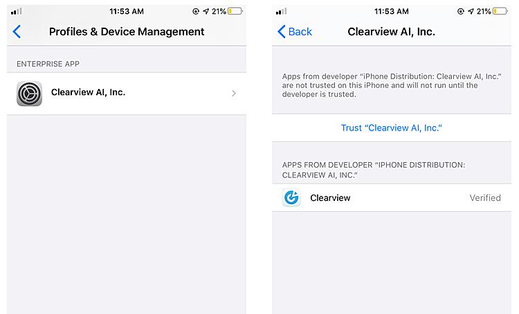 Ứng dụng ClearView AI được cài đặt trên iPhone. Ảnh: TechCrunch.