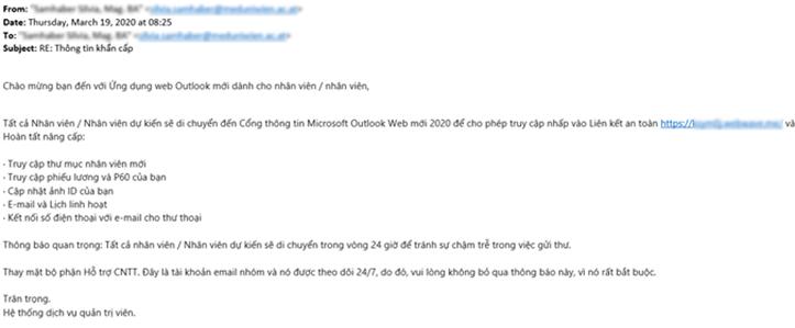 Một email lừa người dùng truy cập vào liên kết lạ.