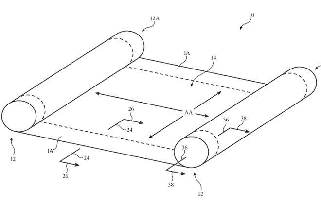 Mô tả màn hình cuộn trong sáng chế mới của Apple.