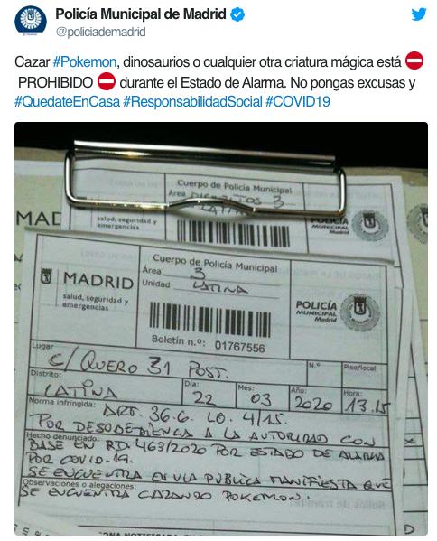Biên bản xử phạt cụ ông tự ý ra ngoài bắt Pokemon do cảnh sát Madrid đăng tải trên Twitter.